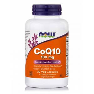 Now Co Q10 100 mg with Hawthorn Berry Vegetarian, 30 Vcaps