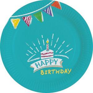 Amscan Πιάτα χάρτινα γλυκού 18εκ My Birthday Party /8 τεμ M9904390