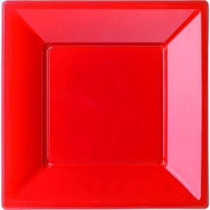 Amscan Πιάτα πλαστικά τετράγωνα 18εκ Κόκκινα 6τεμ. B127871
