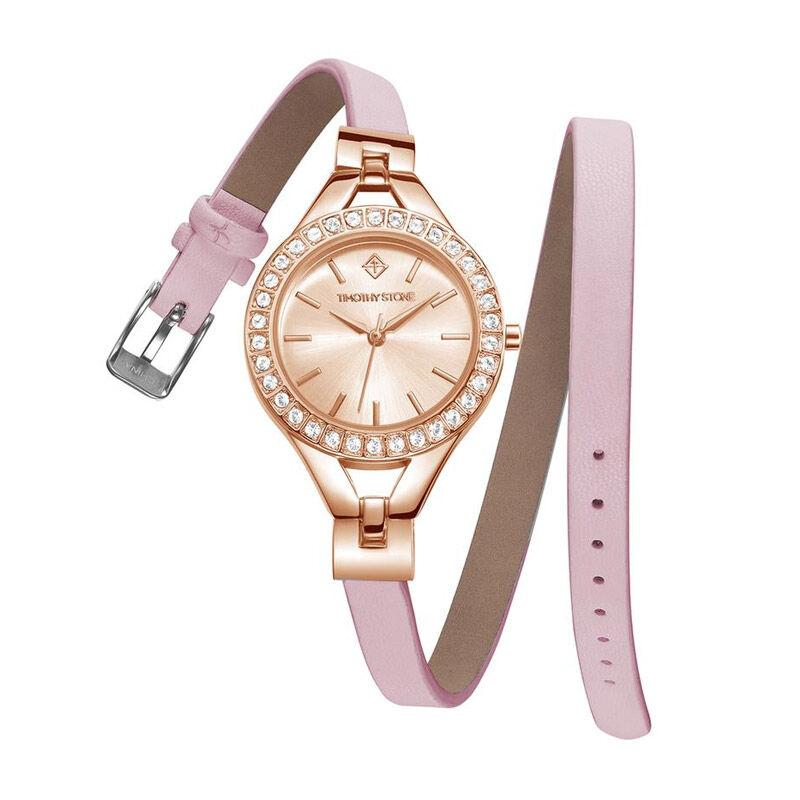 Timothy Stone Γυναικείο Ρολόι Χρώματος Ροζ-Χρυσό με Δερμάτινο Ροζ Λουράκι και Κρύσταλλα Swarovski® Timothy Stone J-015-LTWPK