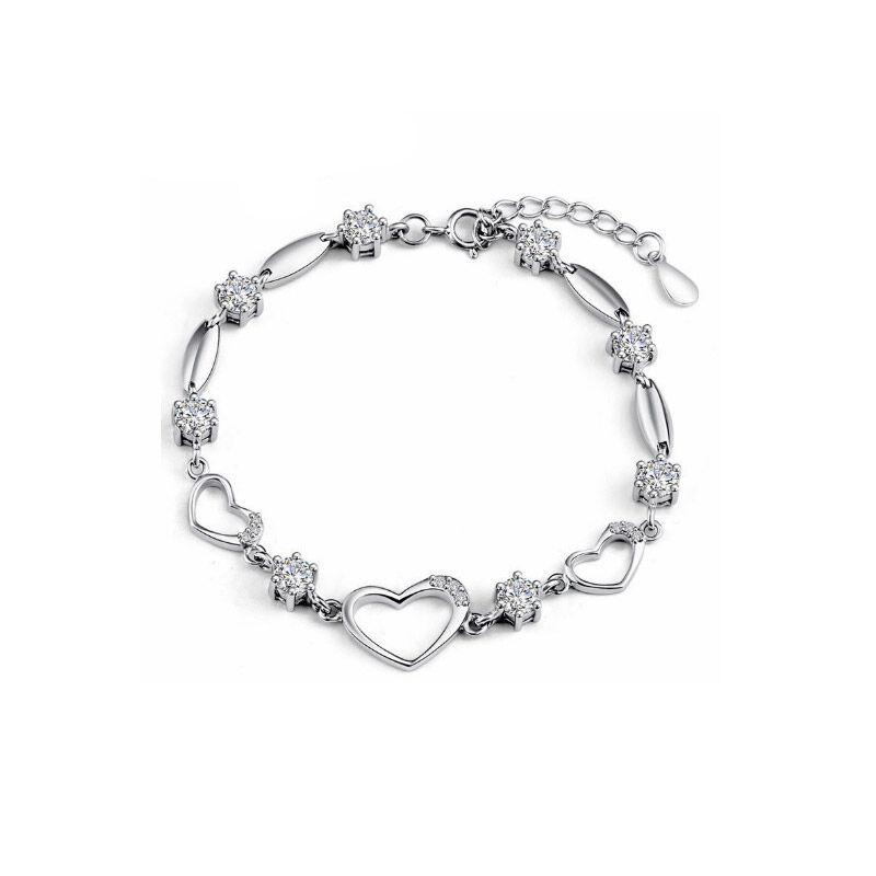 Beloved Βραχιόλι Καρδιά με Κρύσταλλα Swarovski® Χρώματος Λευκό Beloved 652069