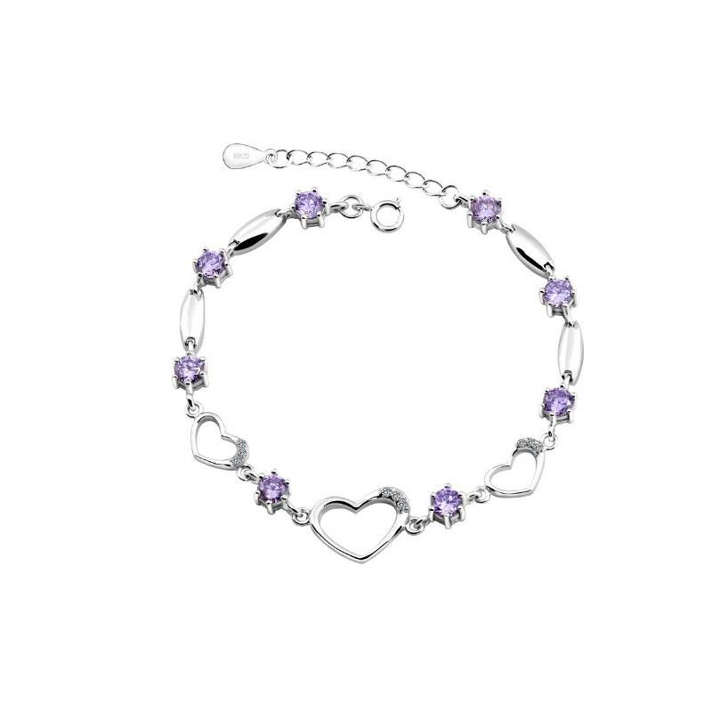 Beloved Βραχιόλι Καρδιά με Κρύσταλλα Swarovski® Χρώματος Λιλά Beloved 652069