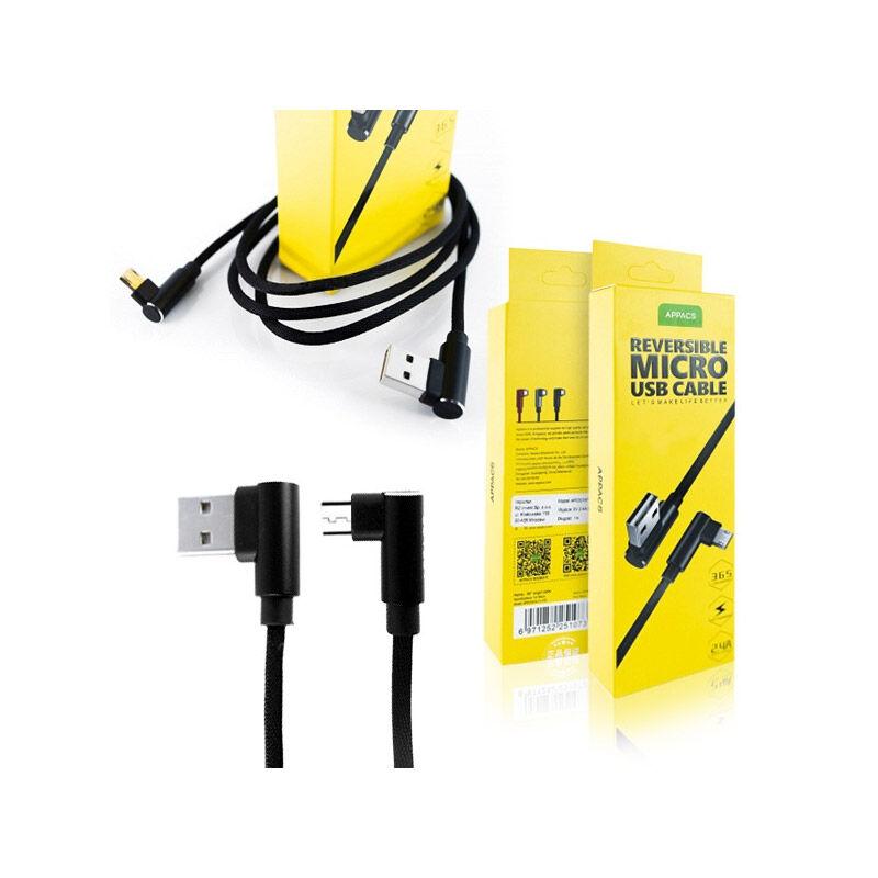 APPACS Καλώδιο Φόρτισης / Δεδομένων USB to Micro USB 90 ° 1 m APPACS APO3187-Black