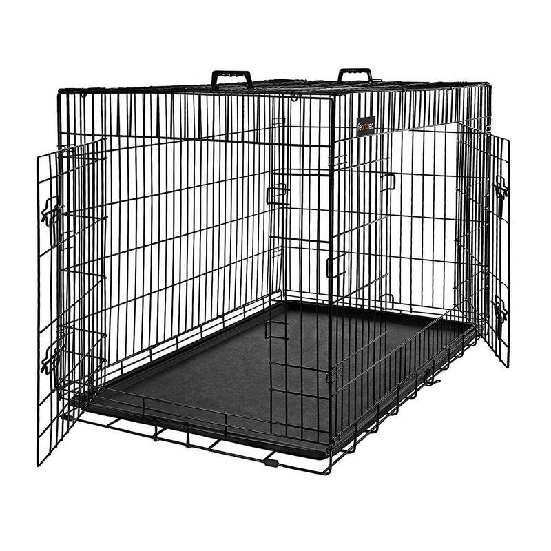 Feandrea Αναδιπλούμενο Μεταλλικό Κλουβί Σκύλου με 2 Πόρτες 92.5 x 57.5 x 64 cm Feandrea PPD36BK