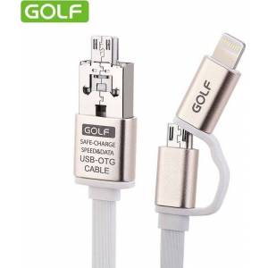 GOLF Flat USB to Lightning/micro USB Cable Λευκό 1m (GF-V121)