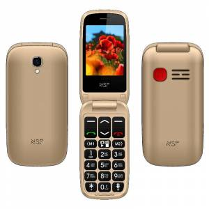 """NSP 2300DS FLIP 2.4"""" DUAL SIM 2G 32MB/32MB RADIO-MP3/MP4 SOS BUTTON GOLD + HANDS FREE"""