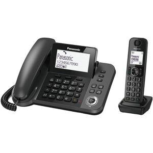Panasonic Σταθερό Ψηφιακό Τηλέφωνο Panasonic KX-TGF310EXM Μαύρο + Ασύρματο Ψηφιακό Τηλέφωνο με Υποδοχή Hands-Free PANASONIC