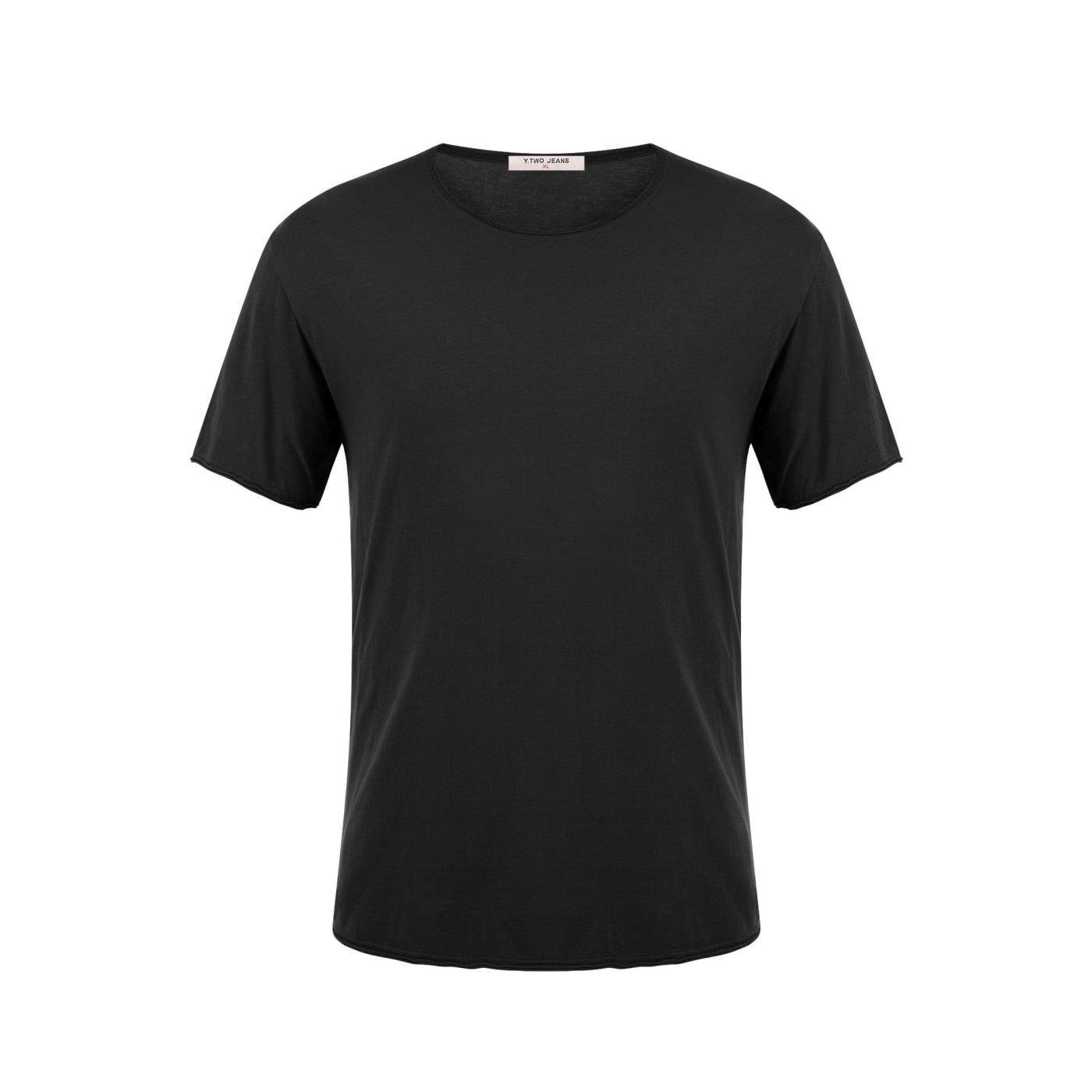 Celestino Ανδρικό T-shirt με αφινίριστο τελείωμα  - Μαυρο - Grootte: Small