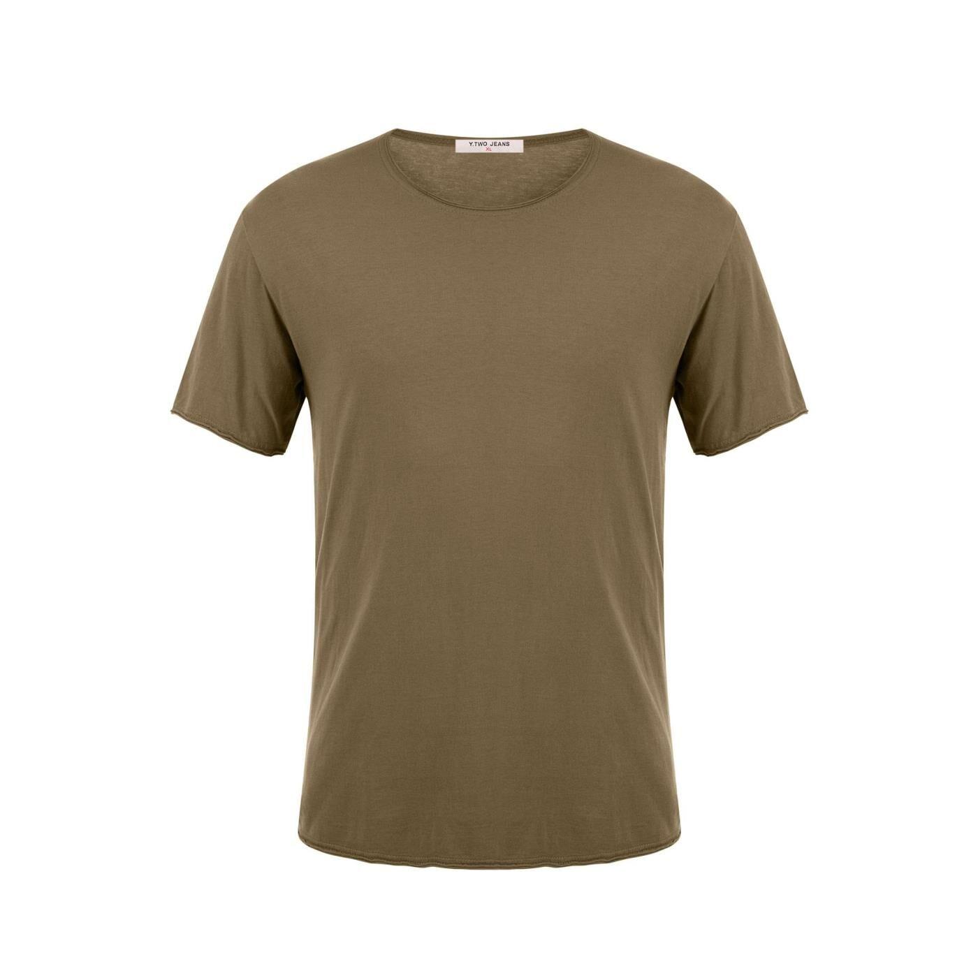Celestino Ανδρικό T-shirt με αφινίριστο τελείωμα  - Λαδι - Grootte: Small
