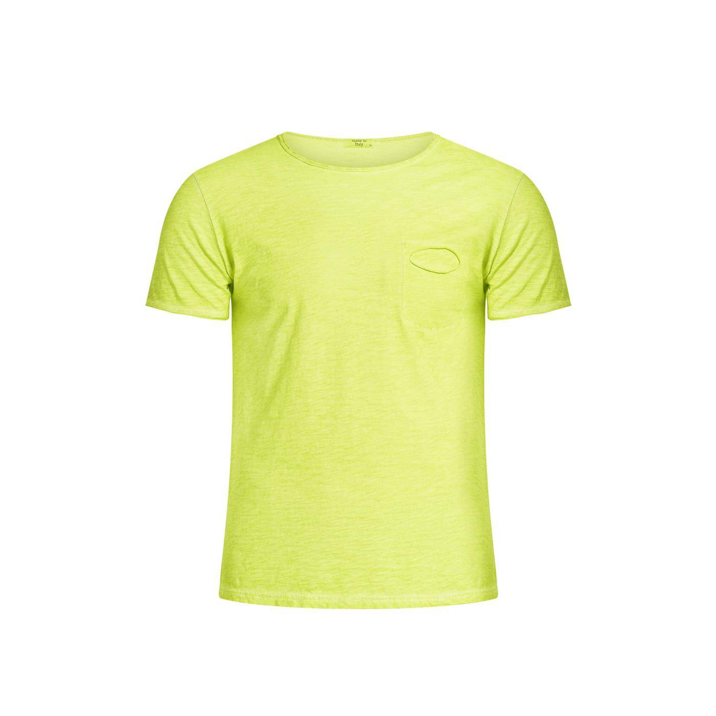 Celestino Ανδρική βαμβακερή μπλούζα με τσέπη  - Φλουο κιτρινο - Grootte: Small