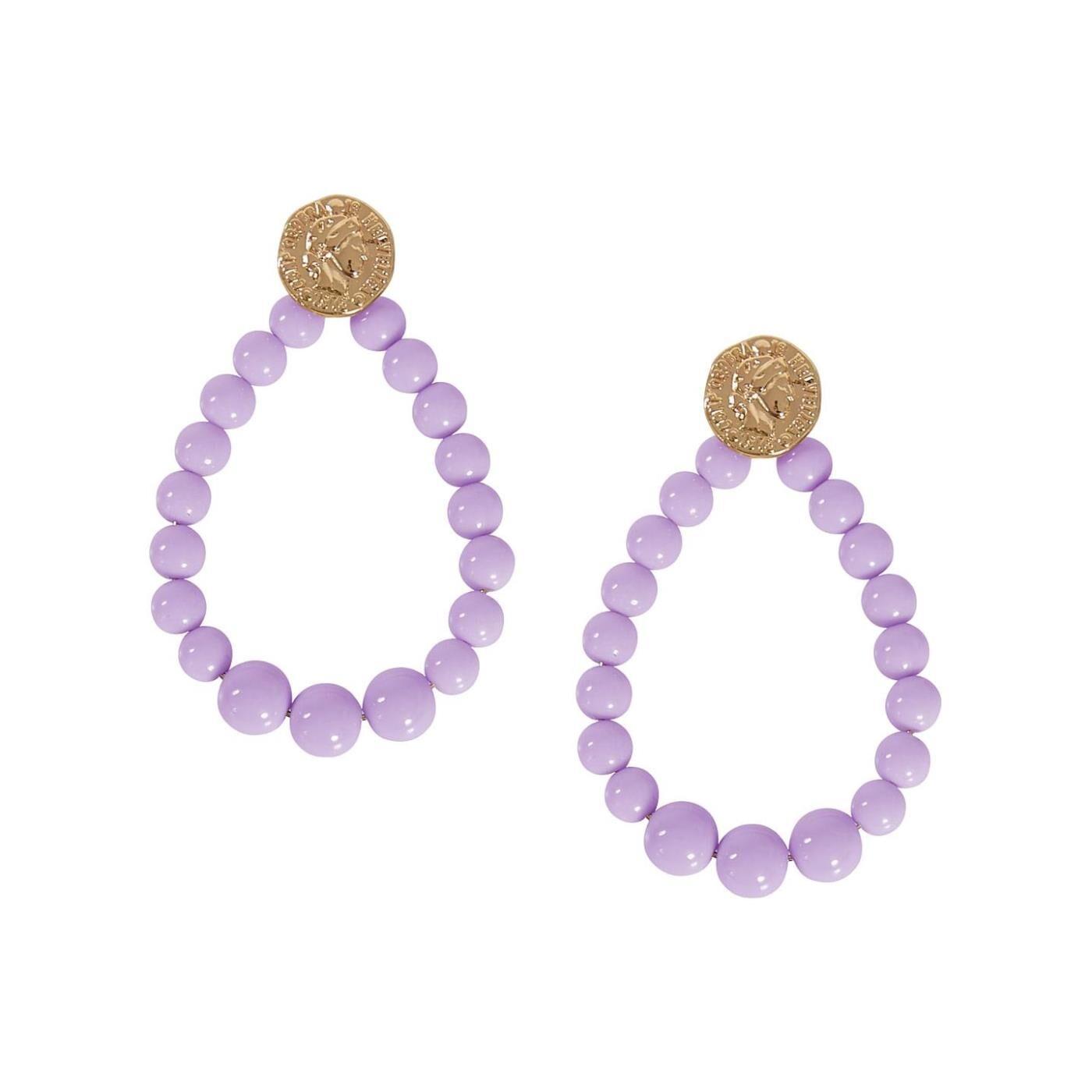Celestino Κρεμαστά σκουλαρίκια με χάντρες  - Λιλα - Grootte: One Size
