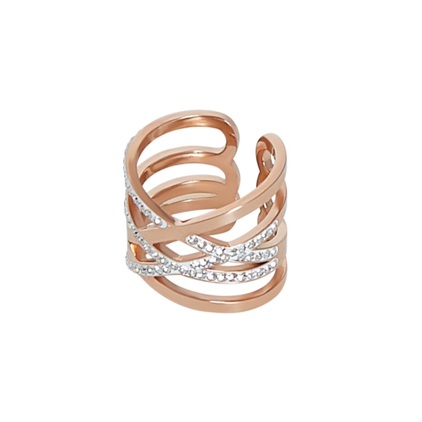 Celestino Πολύσειρο δαχτυλίδι με strass  - Ροζ - Grootte: 17;19