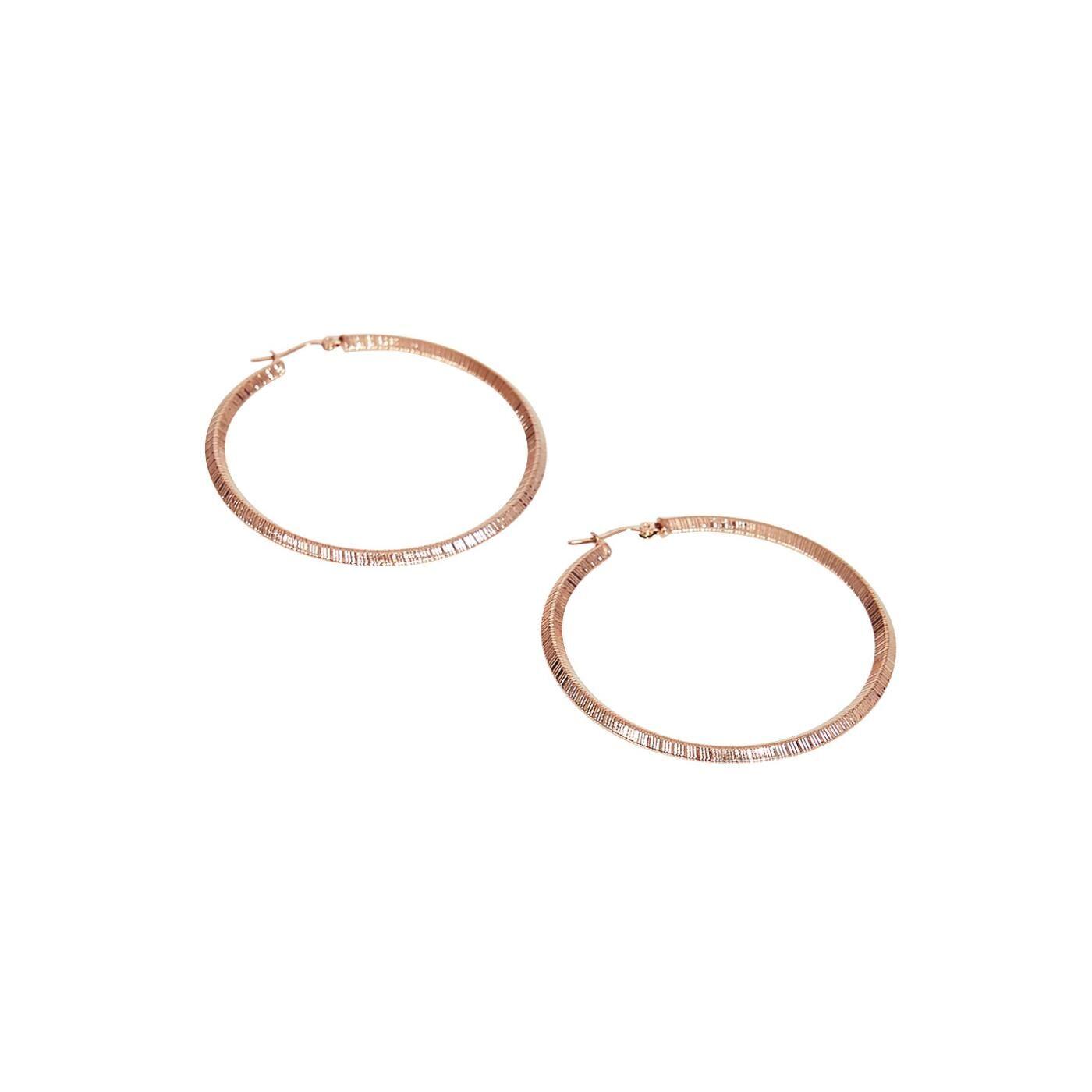 Celestino Ανάγλυφα σκουλαρίκια κρίκοι  - Ροζ - Grootte: One Size