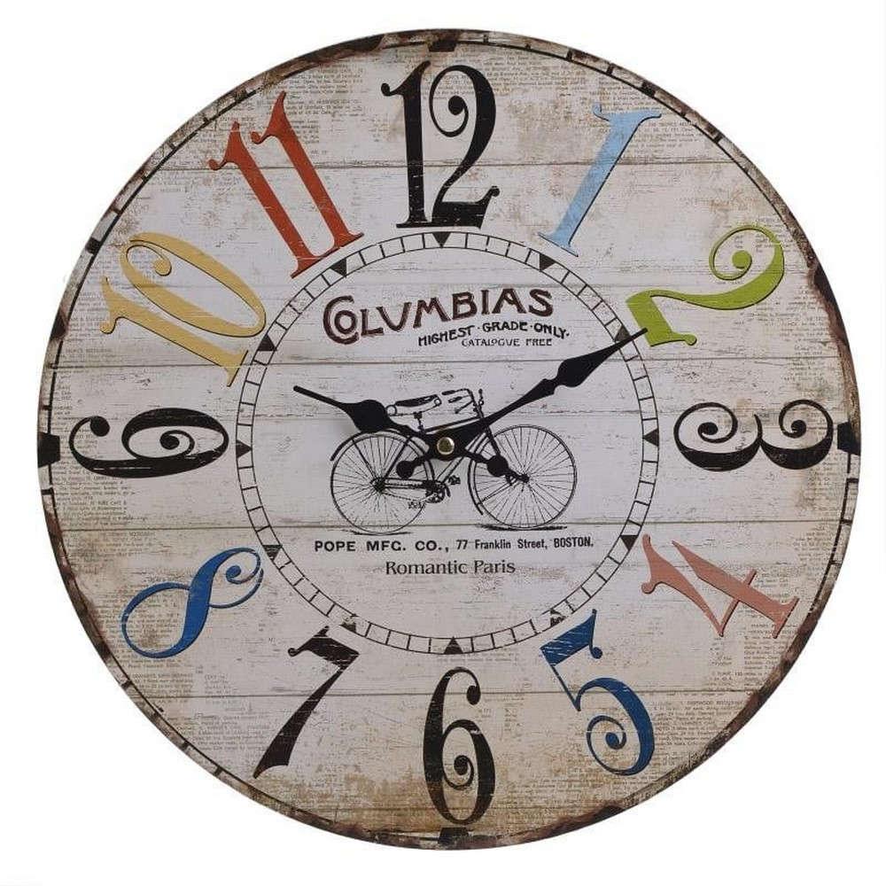 Inart Ρολόι Τοίχου 3-20-977-0101 Ποδήλατο Δ-34X3 Multi Inart  Mdf