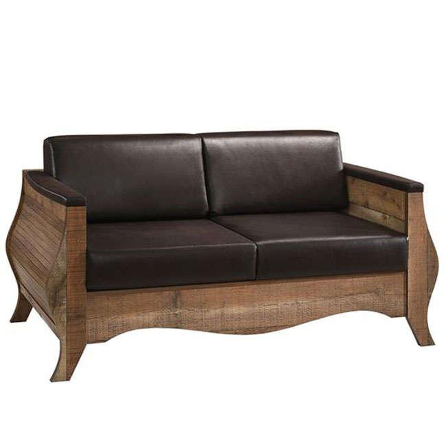 Antique Καναπές Scarlet Ε8702,21 Antique Oak Με Τεχνόδερμα Dark Brown
