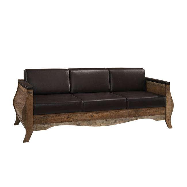Antique Καναπές Scarlet Ε8702,31 Antique Oak Με Τεχνόδερμα Dark Brown