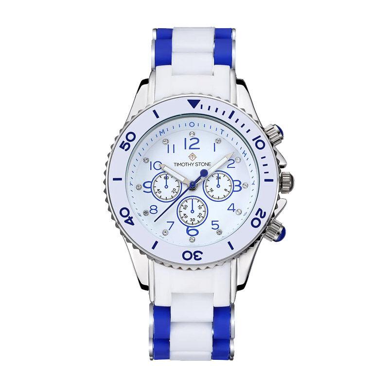 Timothy Stone Γυναικείο Ρολόι Χρώματος Λευκό με Λευκό - Μπλε Λουράκι Σιλικόνης Timothy Stone A-022-BLWSL