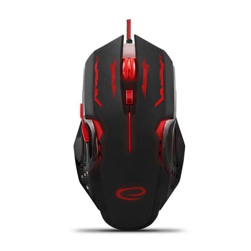 Esperanza Ενσύρματο Οπτικό Ποντίκι Gaming με 6 Πλήκτρα USB 2400 DPI MX403 Apache Χρώματος Μαύρο - Κόκκινο Esperanza EGM403R