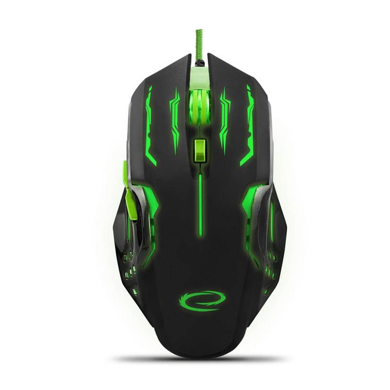 Esperanza Ενσύρματο Οπτικό Ποντίκι Gaming με 6 Πλήκτρα USB 2400 DPI MX403 Apache Χρώματος Μαύρο - Πράσινο Esperanza EGM403G