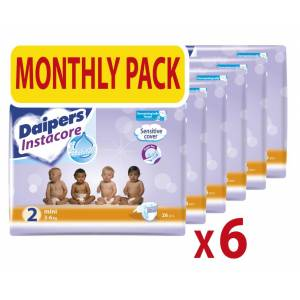 Mega Disposables Βρεφικές πάνες Instacore Daipers No2 3-6 Kg Monthly Pack (156 τεμ)