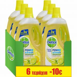 Reckitt Benckiser Καθαριστικό Πατώματος Αντιβακτηριδιακό Λεμόνι Dettol (6x1lt) τα 6τεμ -10€