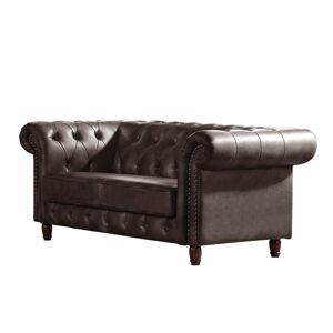 Woodwell Καναπές Διθέσιος CHESTERFIELD Ύφασμα Nabuk Καφέ Σκούρο 180x89x75cm