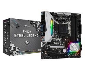 ASRock MB B450M STEEL LEGEND, SOCKET AMD AM4, CS AMD B450, 4 DIMM SOCKETS DDR4, HDMI/DISPLAY PORT, LAN GIGABIT, MICRO-ATX, 3YW. (90-MXB9Y0-A0UAYZ) - Πληρωμή και σε έως 6 δόσεις