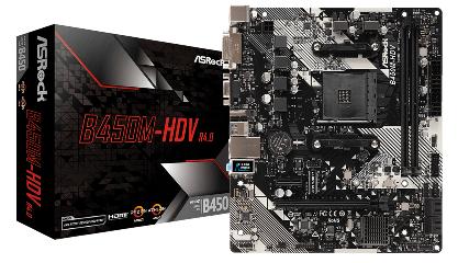 ASRock MB B450M-HDV R4.0, SOCKET AMD AM4, CS AMD B450, 2 DIMM SOCKETS DDR4, D-SUB/DVI-D/HDMI, LAN GIGABIT, MICRO-ATX, 2YW. - Πληρωμή και σε έως 6 δόσεις
