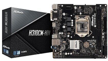 ASRock MB H310CM-HDV, SOCKET INTEL LGA1151 8th/9th GEN, CS INTEL H310, 2 DIMM SOCKETS DDR4, D-Sub/DVI-D/HDMI, LAN GIGABIT, MICRO-ATX, 2YW. - Πληρωμή και σε έως 6 δόσεις