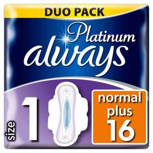 Always Platinum Ultra Normal Plus Σερβιέτες Με Φτερά 16 τεμάχια (Μέγεθος 1)