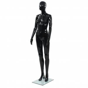 vidaXL fényes fekete, egész alakos női próbababa üvegtalppal 175 cm
