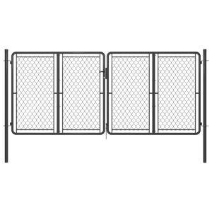vidaXL antracitszürke acél kertkapu 300 x 125 cm