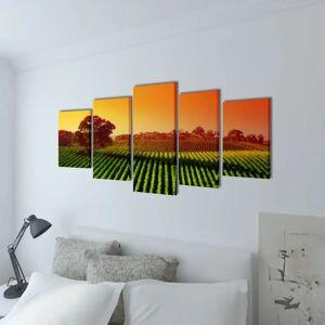 vidaXL Nyomtatott vászon falikép szett földek 200 x 100 cm