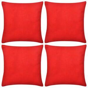 vidaXL 4 db pamut párnahuzat 80 x 80 cm piros