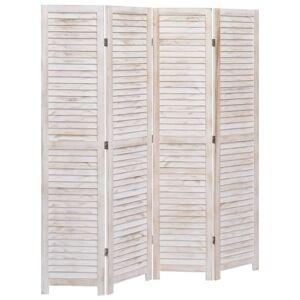 vidaXL fehér 4-paneles faparaván 140 x 165 cm