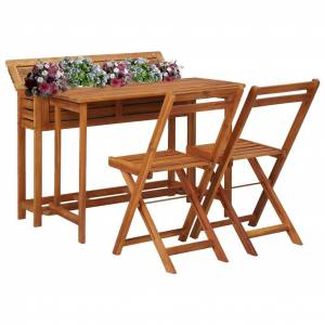 vidaXL tömör akácfa virágtartó asztal erkélyre 2 db bisztrószékkel