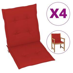 vidaXL 4 db piros párna kerti székhez 100 x 50 x 3 cm