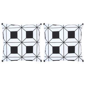 vidaXL 2 db fekete-fehér mintás pamut párna 40 x 40 cm