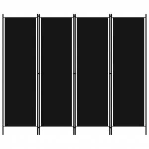 vidaXL fekete 4 paneles paraván 200 x 180 cm