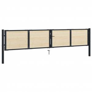 vidaXL acél és lucfenyő kerítéskapu 408 x 125 cm