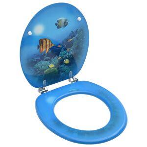 vidaXL mélytengeri mintás MDF WC-ülőke fedéllel