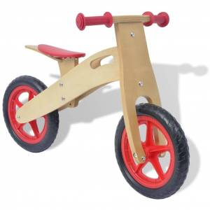 vidaXL lábbal hajtható fa kerékpár piros