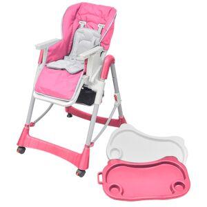 vidaXL rózsaszín állítható magasságú deluxe baba etetőszék