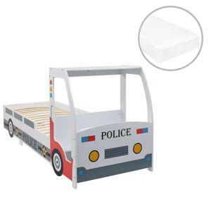vidaXL rendőrautó formájú gyerekágy 7 zónás matraccal H3 90 x 200 cm