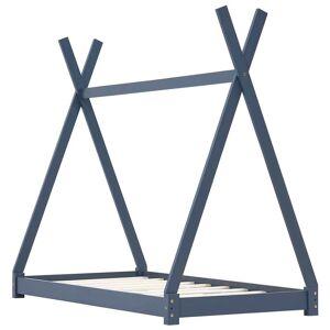 vidaXL szürke tömör fenyőfa gyerekágy-keret 80 x 160 cm