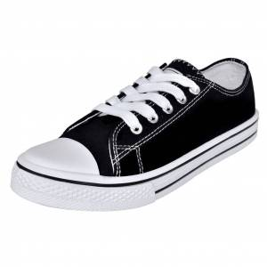 vidaXL Klasszikus női alacsony szárú fűzős vászon tornacipő méret 36 fekete