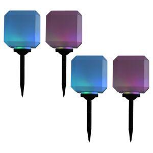 vidaXL 4 db kocka alakú kültéri napelemes LED lámpa 20 cm RGB
