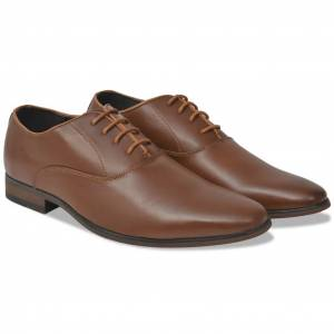 vidaXL Barna, fűzős férfi business cipő, 45-ös méret, PU bőr