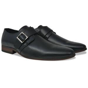 vidaXL Fekete PU bőr férfi csatos cipő 43-as méret