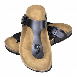 vidaXL fekete női bio parafa flip flop dizájnú papucs 41-es méret
